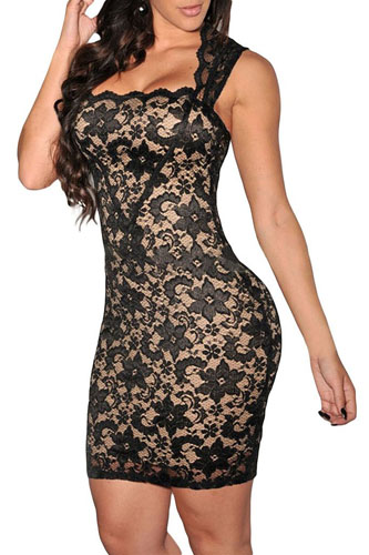 6. Dearlovers Women Vintage Clubwear Bodycon Lace Party Dress