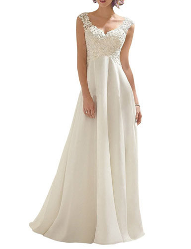 8. AbaoWedding Women's Double V-neck Sleeveless Lace Wedding Dress Evening Dress