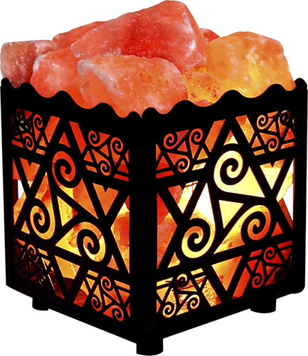 8. Crystal Decor Natural Himalayan Salt Lamp in Star Design Metal Basket with Dimmable Cord