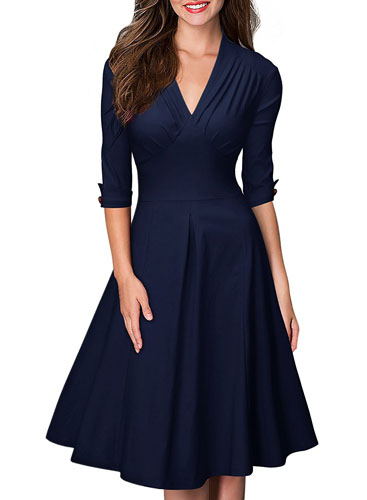 3. Miusol Women's Retro Deep-V Neck Half Sleeve Vintage Casual Swing Dress