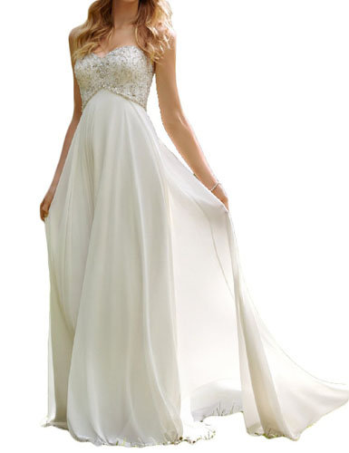 10. Favors Dress Women's Sweetheart Beach Wedding Dress Bead Bridal Gown Empire HS26
