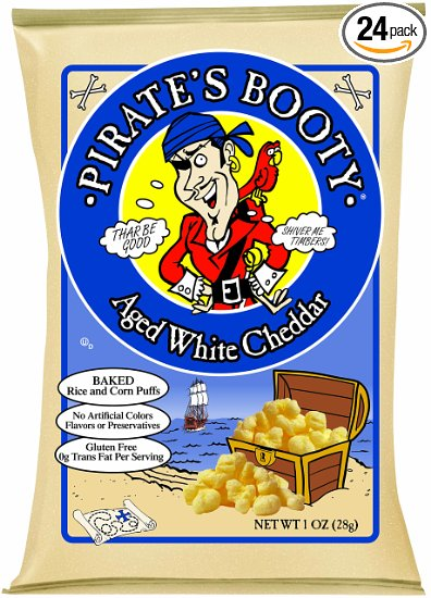 3. Pirate's Booty Aged White Cheddar, 1 Ounce (Pack of 24)