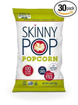 2. Skinny Pop Popcorn, original, 0.65 ounces (pack of 30)