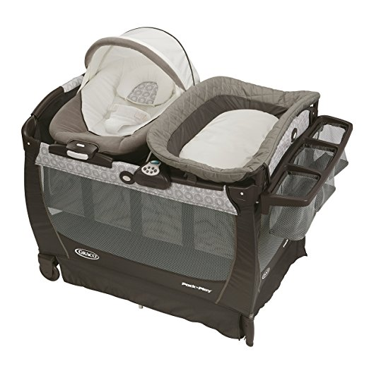 9. Graco Pack 'n Play Playard Bassinet Changer Snuggle Suite LX Baby Bouncer, Abbington
