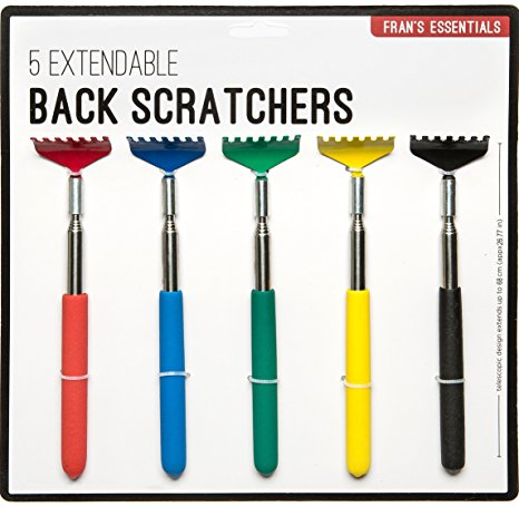 4. Fran's Essentials Extendable Back Scratcher/Massager, Multicolor, Set of 5