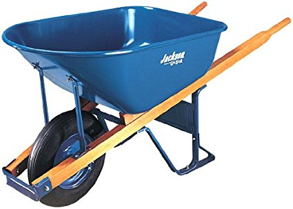 5. Jackson M6T22 6 cubic foot steel tray contractor wheelbarrow.