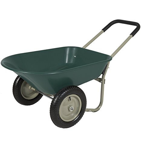 3. Best choice products dual wheel home wheelbarrow.